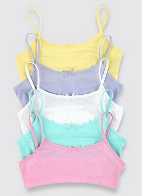 Ex M&S Girls 5 Pack Cotton Crop Tops With Stretch Brights Pastels Age 7-14 Years