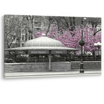 Pink Blossom Tree New York Subway Large Luxury Canvas Wall Art Picture Print A0