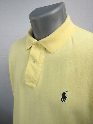 Polo Ralph Lauren Yellow Short Sleeve w/ Navy Blue Pony Mens Shirt Size Medium