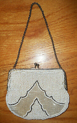 Antique White Silver Seed & Bugle Glass Beaded Metal Frame Purse Chain Handle