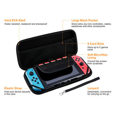 Hard Case Bag+Shell Cover+Charging Cable+Protector Kits for Nintendo Switch Gift