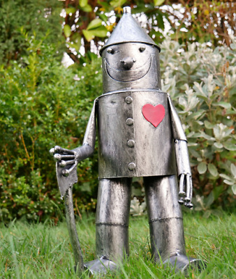 Large Tin Can Man Red Heart Wizard Of Oz Metal Garden Ornament Statue