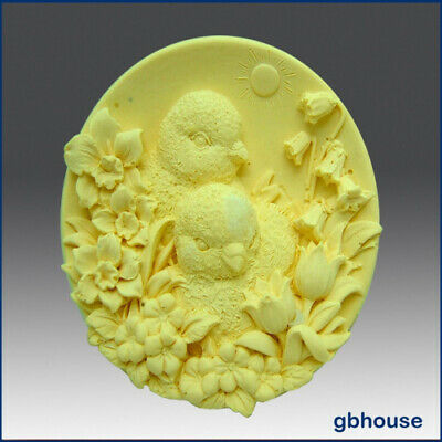 Baby Chicks with Flowers - Detail of High Relief Sculpture - Silicone