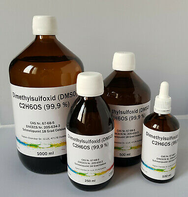 DMSO Dimethylsulfoxid 99,9% Reinheit, in Braunglasflasche, 100/250/500/1000 ml