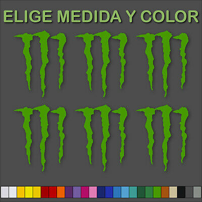 6X Pegatina Monster Energy Vinilo Sticker Decal Autocollant Garra Sponsor