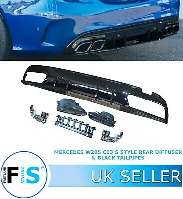 Mercedes C Class W205 Amg C63 S Style Rear Diffuser + Black Tailpipes 15-19