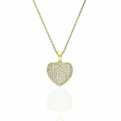 """1Ct Created Diamond Puffed Heart Pendant Necklace 18"""" Yellow Gold Tone Silver"""