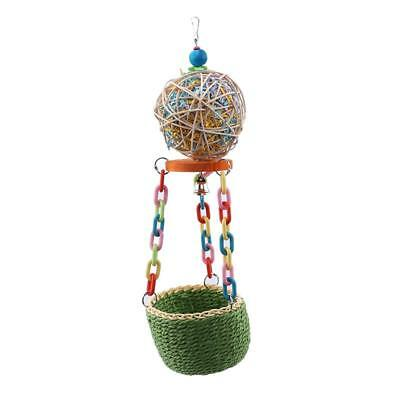 Classic Parrot Bird Toy Cane Woven Ball Hanging Nest Chewing And Swinging Toy T