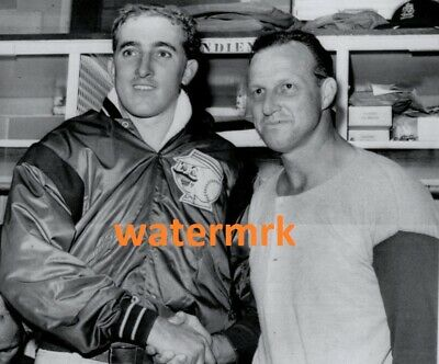 1963 JIM MALONEY Cincinnati Reds & STAN MUSIAL St Louis Cardinals LAST GM PHOTO