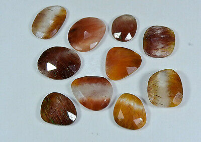 96Cts Natural Golden Rutile Quartz Mix Cut Gemstone Lot 10Pcs Free Ship
