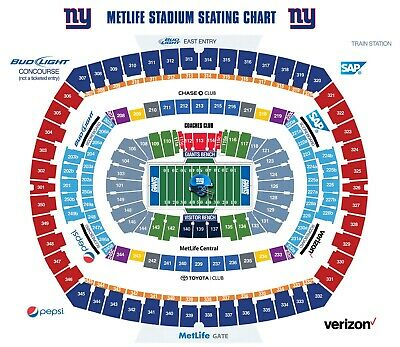 NY Giants vs. Washington Sunday 9/29 -2 tickets & parking pass Lower Level Seats
