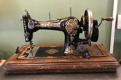 Vintage Edwardian Jones Sewing Machine with Case No 163888