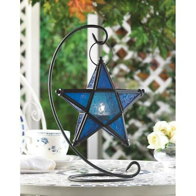 Azure Sapphire Blue Glass Hanging Star Shaped Candle Holder Lantern Iron Stand