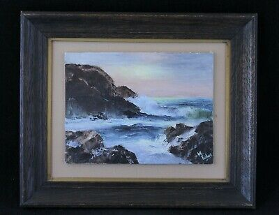Antique Framed Seascape Oil Painting Signed By Artist M. Fisher