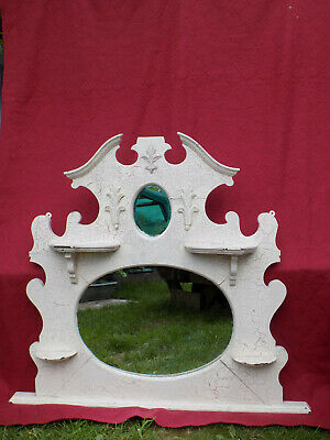 Old Antique Gothic style Carved Wooden Mahogany Framed Victorian Wall Mirror