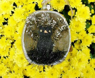Mercury Glass Halloween Indent Ornament with Black Owl Silver Back New