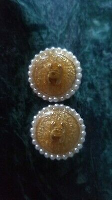 Lot of 2 Vintage gold white pearls around Chanel CC Logo  Buttons 20 mm