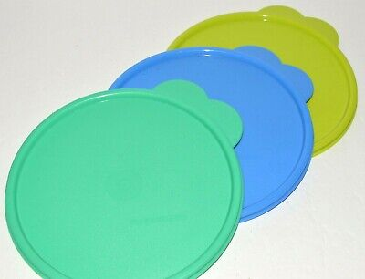 Tupperware Lid Lot 3 Round Wonderlier Bowl Top C Green Blue Seal Tight Butterfly