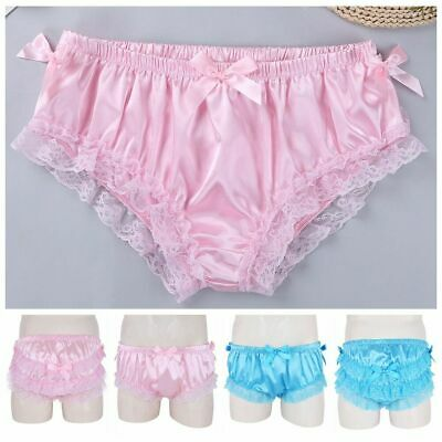 Mens Sissy Panties Shiny Soft Satin Underwear Ruffled Floral Lace Bowknot Briefs