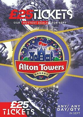 Alton Towers Tickets | Any Date | Any Qty | Sept 2019 | Same Day Delivery