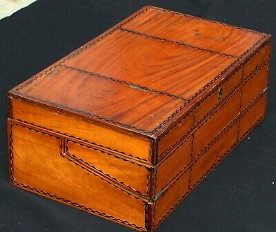 Antique Inlaid Campaign Lap Desk Writing Slope Secret Drawers Ebony Pole Sander