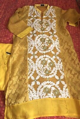 New Agha Noor Yellow Party Wedding Embroidered Kurta/Top Pakistani Indian Size M
