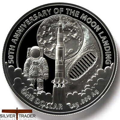 2019 UNC $1 50th Anniversary of Moon Landing 1oz Silver Bullion Coin in Capsule