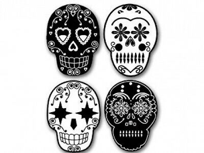 MAGNET 4-Pack B/W Sugar Skull Cell Phone Magnetics (Day of the Dead) Size: