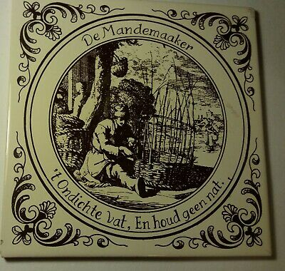 DUTCH DELFT-STYLE BROWN & CREAMY-WHITE POTTERY TILES APPROX 1970s