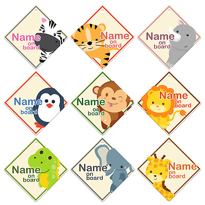 Personalised Baby Animals Your Name Car Windows baby on Board Sign Boys Girls