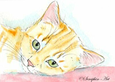 Original ACEO Watercolor Painting Tabby Cat Cute Ginger Kitten Seraphin-Art