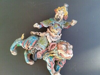 """Chinese Antique Roof Tile """"Warrior Riding A Foo Dog"""" Rare Design"""