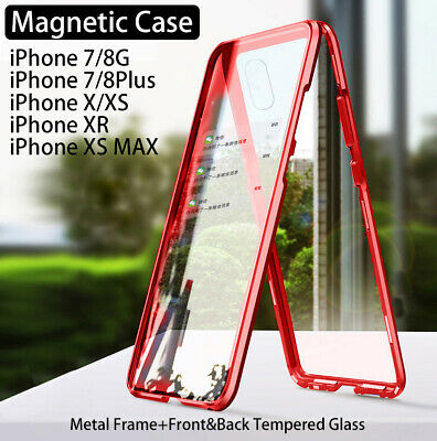 Magnetic Metal Frame Tempered Glass Case For iPhone 11 Pro Max X XS MAX XR 7 8