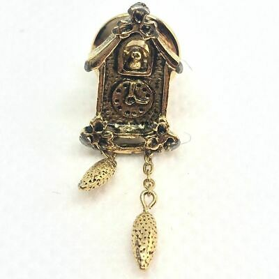 Clock Pin Cuckoo Vintage Brooch Gold Tone Mother Pearl Avon Coo Face Small Jewel