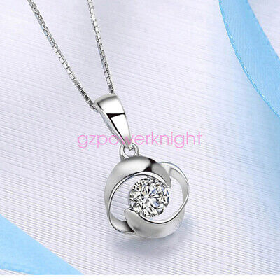 Genuine Solid 925 Sterling Silver CZ Rose Pendant Necklace Chain Ladies Gift
