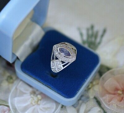 Vintage Jewellery Ring Amethyst White Sapphires Antique Deco Jewelry T 10