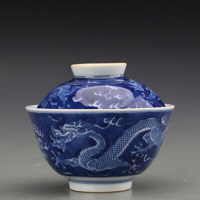 """3.5"""" China old Rare antique Porcelain blue white dragon pattern covered bowl"""