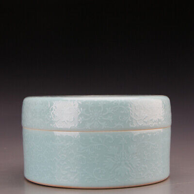 "6.3"" China old Porcelain qing shende tang mark sky cyan glaze white flower Box"