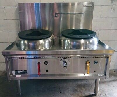 Commercial Asian Restaurant WATERLESS 888 TWIN WOK MONGOLIAN BURNER. LPG