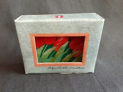 Vintage Iittala Finland Glass Card Titled Red Tulips In Original Box.
