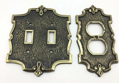 mPair Vintage Donner Brass Double Light Switch & Wall Outlet Cover it/655