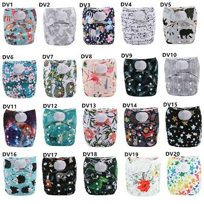 1 Baby Hook and Loop Pocket Cloth Diaper Nappy Reusable Washable