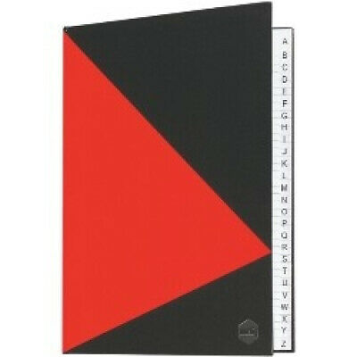 Marbig Hard Cover Notebook, A4 Indexed A-Z, Red/Black. Shipping is Free