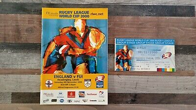 England V Fiji Rugby League World Cup Match Programme With Ticket 2000
