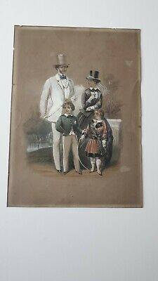 Dessin original ancien  aquarelle gouache XIXE France