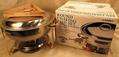 """SUNNEX STAINLESS STEEL CHAFING DISH 3.85 US Qt. 18/10 WITH GOLD ACCENTS 11"""" tall"""