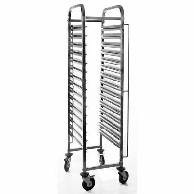 Stainless Steel Steam Pan Trolley Single Food Carrier Mobile Transporter 15 Tier