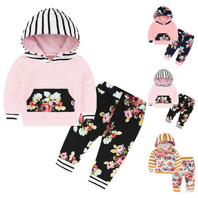 Baby Kids Girls Tracksuit Set Floral Hooded Tops Pants Toddler Clothes Outfits