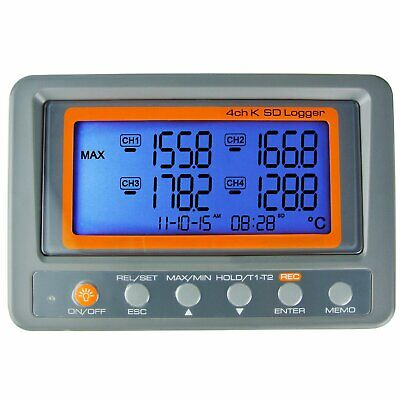 4-Channel K Type Thermocouple Thermometer Temperature Digital SD Logger Meter