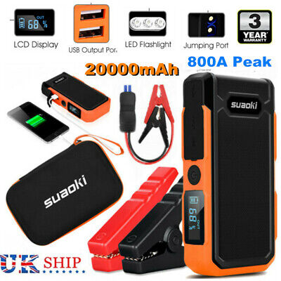 USB 2000mAh Car Jump Starter Rescue Pack Battery Charger Power Bank LCD Display